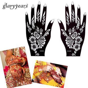 glaryyears 32 Designs 1 Pair Hands Henna Stencil Glitter Colors Paste Drawing Tattoo Template Mehndi Arabic Indian Hands Stencil