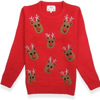 V28 Women's Christmas Reindeer Snowflakes Sweater Pullover (Tag M (US size 8), Red-3Dnose)