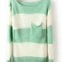 Green White Striped Long Sleeve Sweaters