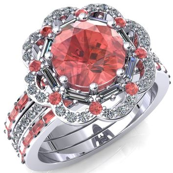 Camelia Round Padparadscha Sapphire Accent Diamond and Padparadscha Sapphire Halo Ring