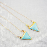 Turquoise Gold Dipped Triangle Necklace