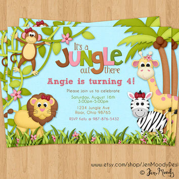 Jungle Birthday Invite, Safari Party Invitation - Printable, Digital, Custom, Monkey, Giraffe, Zebra, Lion, Girl, Pink