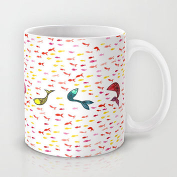 School of Fish Coffee Mug - Ceramic tea mug with watercolor fish in blue, teal, yellow, red, pink, and blue