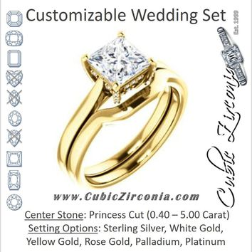 CZ Wedding Set, featuring The Aimy Jo engagement ring (Customizable Cathedral-Raised Princess Cut with Prong Accents)