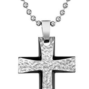 Men's Two-Tone Stainless Steel Hammered Texture Cross Pendant Necklace, 22""