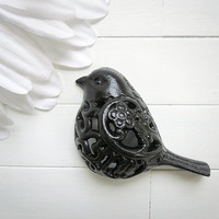 Black Bird / Filigree Bird / Bird Decor / Shabby Chic Wall Decor / Hanging Bird Decor /  Woodland Decor / Garden Bird /  Black Decor / Black