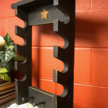 Rolling Pin Rack Four Slots with Three Wood Pegs & Rusty Star - Made to Order