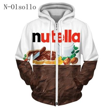 N-olsollo Harajuku Nutella 3D Print Hooded Zipper Sweatshirt Female Pullovers Hoodies Full Sleeve Thin Fleece Top Women Clothing