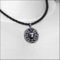 Tribal Wolf Head Design Pendant with Accent Stone on Viking Braid Leather Necklace