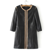 Black Faux Leather Zippers Duffle Trench Coat