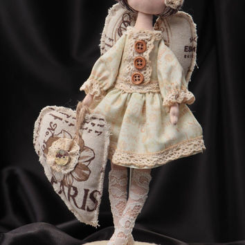 Handmade designer soft doll Angel sewn of linen and cotton in beige color shades