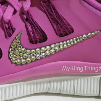 Nike Free 5.0+ Women's Running Shoes -  Raspberry Red / Summit White / Pink Foil - Bedazzled with 100% Swarovski Elements Crystals