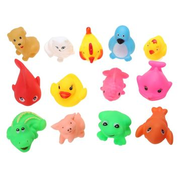 13pcs/Set Baby Bath  Sqeeze Sound Toys Safe Rubber Float Baby Wash Bath Playing Fun Lovely Animals Toys for Baby Kids By Random