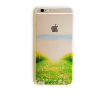 iPhone 6 Plus Case Sunny Meadow iPhone 6 Plus Soft Flower Field Case Girly Back Cover For iPhone 6 Slim Design Case Nature Floral 1275