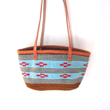 Woven Tote Bag - Turquoise & Red