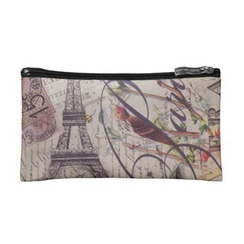 Vintage floral butterfly Paris eiffel tower Small Cosmetic Bag