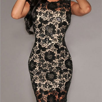 New Women Sexy Lace Bodycon Mini Dress Slim Cocktail Evening Pencil Party Dress (Color: Black) = 1956601220