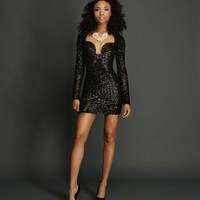 Black After Dark Sequin Party Dress