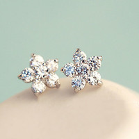 Little Blossom Flower Rhinestone Earrings