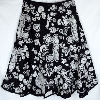"Sample Sale 29"" SM Med Black Skirt Heavy White Embroidery Lined Full Twirly"