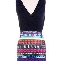 Sleeveless Aztec Print Dress with Deep V-Neck