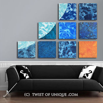 Corporate Wall art / ORIGINAL 9 panel (15 Inch  x 15 Inch) / Colorful Watercolor art / blue, ice blue, Orange