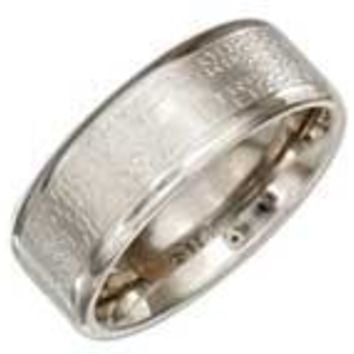 Stainless Steel 8mm Band Ring with Lords Prayer and Cross