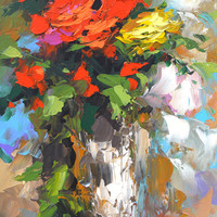 Roses - Palette Knife Oil Painting on Canvas by Dmitry Spiros, Size: 24 x 32 in, (60 x 80 cm) 2015