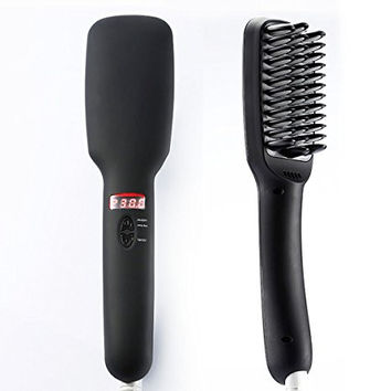 [2016 Newest Version] NexGadget Hair Straightener Brush, Anion instant Magic Silky Straight Hair Styling, Anti Scald Anti Static Ceramic Heating Detangling Hair