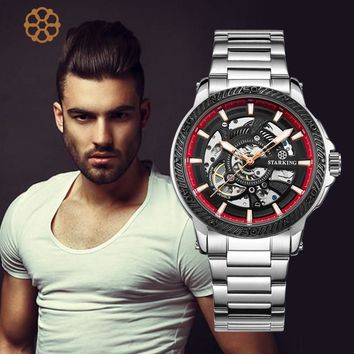 STARKING Top Brand Men's Automatic Watch Fashion Swiss Design Skeleton Mechanical Wristwatch Male Outdoor Sport Watches