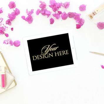 Styled Stock Photography | BUY 2, GET 1 FREE | Gold Desk Accessories, iPad Mockup, Product Backdrop, Desk Mockup, Flatlay | #0080