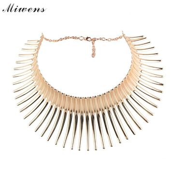 Miwens Brand  Fashion Bending Alloy Big Torques Indian Statement Necklaces  Steampunk Jewelry Collar Choker Necklace Women BB4
