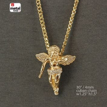 "Jewelry Kay style Men's Hip Hop Iced Out Mini Angel Pendant 30"" 4 mm Cuban Chain Necklace Set"