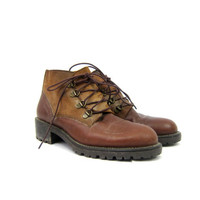 Vintage brown leather ankle boots 90s Hiking Boots Lace up Suede Panel boots Outdoors Sturdy boho women's shoes size US 6.5 EUR 37