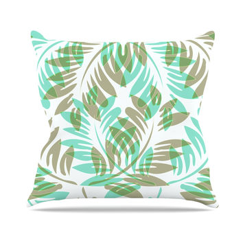 "Alison Coxon ""Winter Fern"" Green Teal Outdoor Throw Pillow"