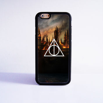 Harry Potter Death Hallows Rubber Case Cover for Apple iPhone 4 4s 5 SE 5s 5c 6 6s Plus