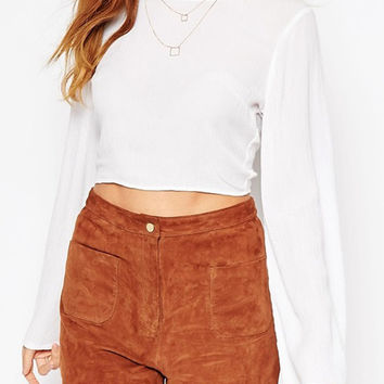 White Backless Cropped Chiffon Blouse