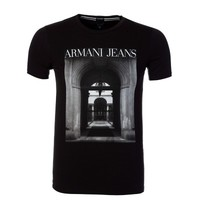 Armani Jeans Black Archway Graphic Print T-Shirt - T-Shirts