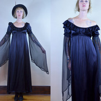 80s Belle Donna Original Goth Floating Sleeves Empire Waist Satin Dress