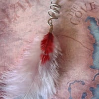 Silver Vampire Dreadlock Feather Dread Bead Coil Gray Burgundy Red Silver
