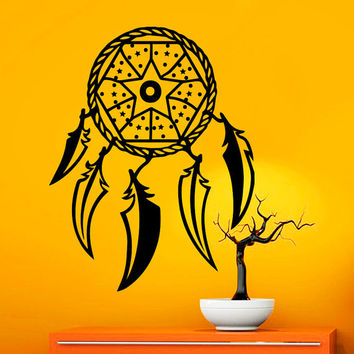 Dream Catcher Wall Decals Indian Amulet Star Design Feathers Home Interior Vinyl Decal Sticker Dorm Decal Mural Bedroom Wall Decor MR394
