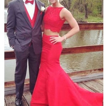 Elegant 2 Pieces Mermaid Sweep Train Lace Prom Dress, 2 Pieces Formal Dress