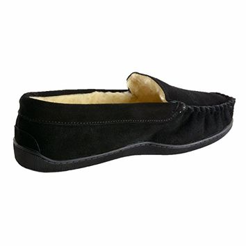 Yukon Mens Suede Shearling Slip On Moccasin Slippers