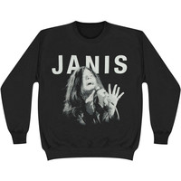 Janis Joplin Men's  Janis Singing Sweatshirt Black