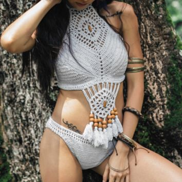 Fashion hot sale knitted fringe with swimsuit sexy two-piece bikini
