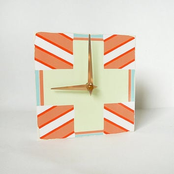 Nautical Clock Art Block  STARBOARD Blue Orange by redtilestudio