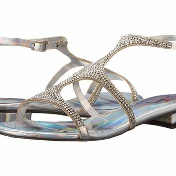 Luichiny Pearl Silver Hologram Rhinestone Flat Sandal Chan Ning