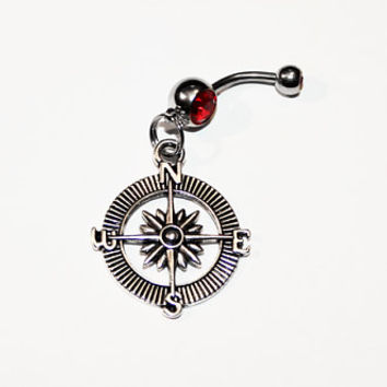 Compass Belly Button Ring, Hiking, Navel Ring, Gift For Hiker, Explore, Camping Jewelry, Adventure, Belly Piercing