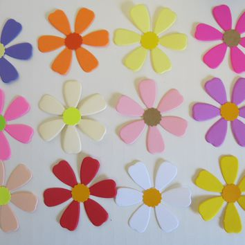 "Colorful Coreopsis Paper Flowers, Set of 12 Loose Floral Decor, 2"" Blooms"