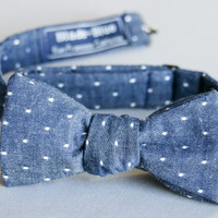 Chambray Polka Dot Bow tie - Michael